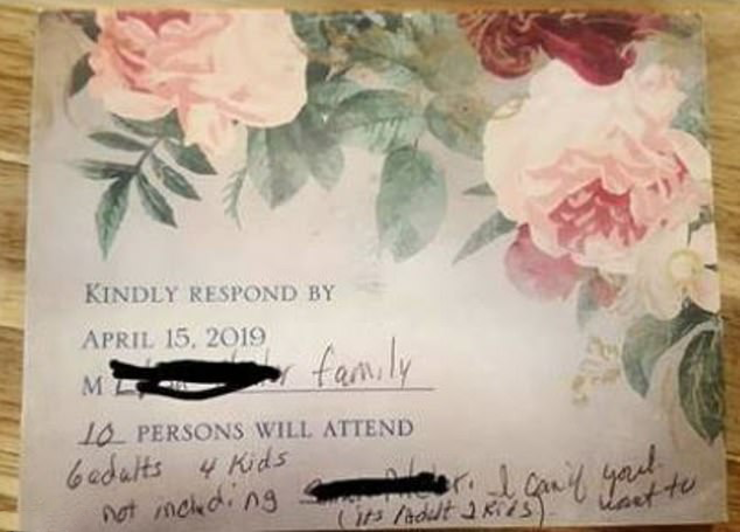 Couple Furious Over Wedding RSVP Card Response